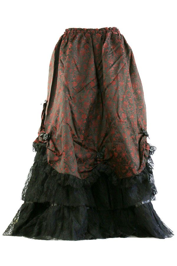 Raven Gothic Skirt, Layered Lace and Black/Red Brocade Steampunk Skirt - Click to enlarge