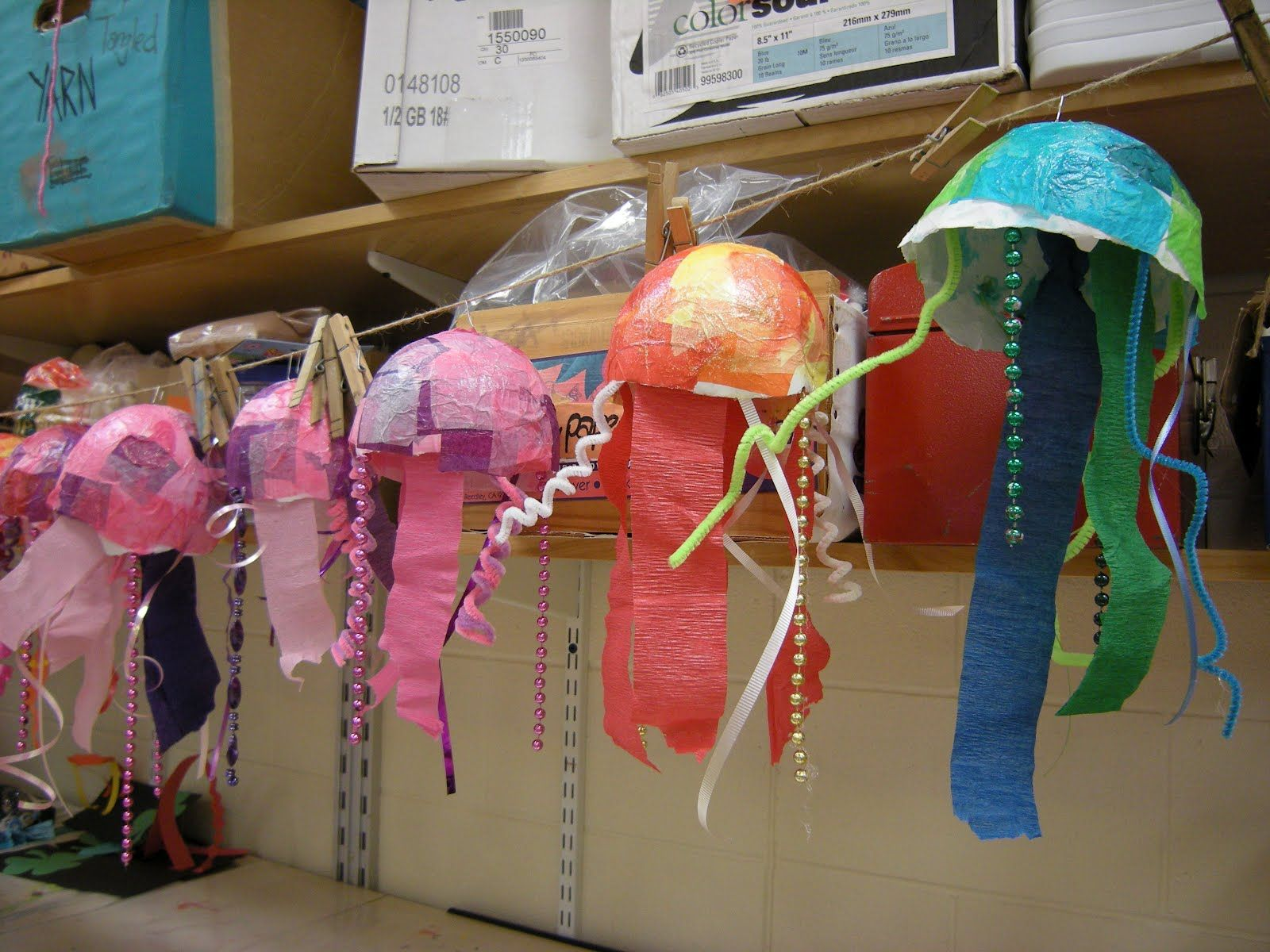 Line Color Form : Jellyfish paper mache sculpture texture line color