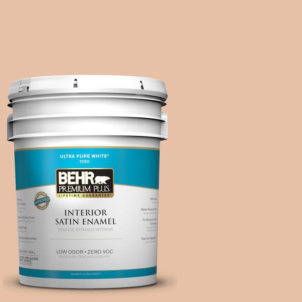 BEHR Premium Plus 5-gal. #260E-3 Pueblo Sand Zero VOC Satin Enamel Interior Paint