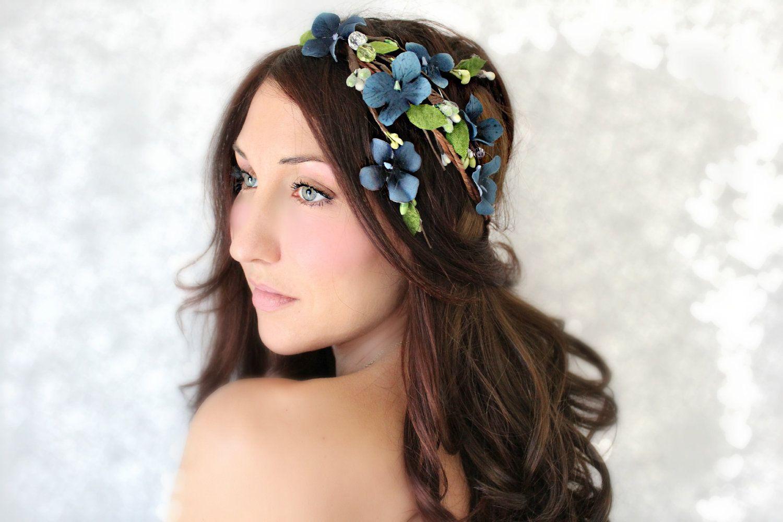 Flower crown cascade blue flowers wedding tiara bridal hair flower crown cascade blue flowers wedding tiara bridal hair wreath head wreath fairy woodland felice 7500 via etsy izmirmasajfo