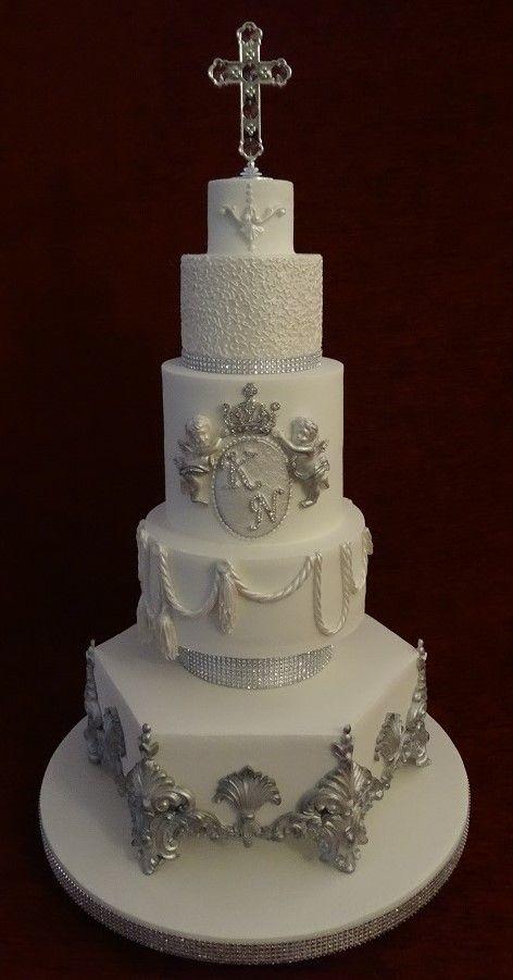 Diamante cross cherub silver and white christening cake