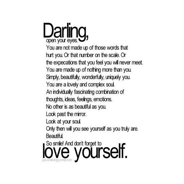 love yourself quotes | Tumblr found on Polyvore | Body by baby