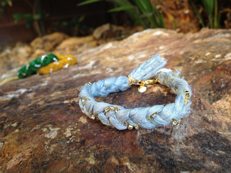 Sari Ribbon and Rhinestone Bracelet  Sea foam by AllyandBella, $19.80