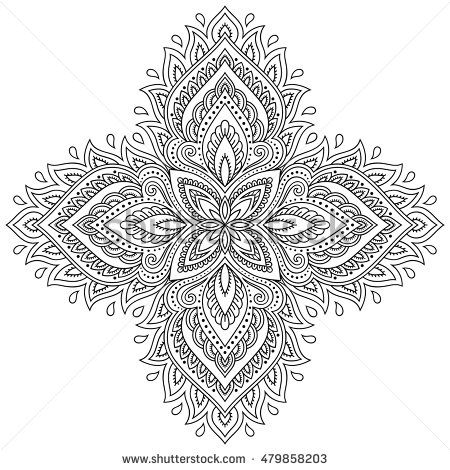 Henna tattoo mandala in mehndi style. Pattern for coloring book ...
