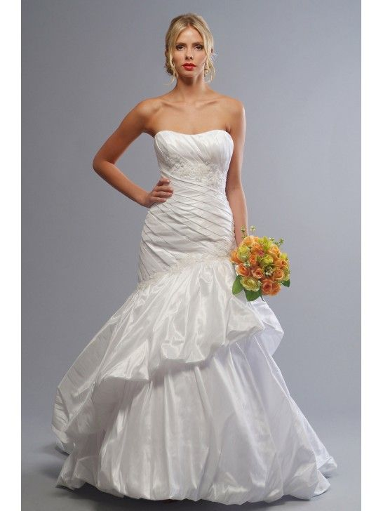 STRAPLESS SILKY TAFFETA WEDDING GOWN WITH ASYMMETRIC PLEATING AND SKIRT LW9007