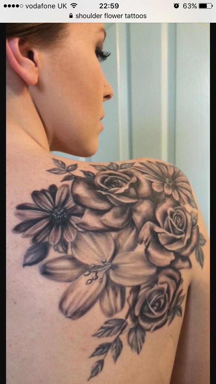 Pin by trisha broom on ink pinterest tattoo tatoos and tatt tattoos flower tattoos lily tattoo rose tattoo daisy tattoo shoulder blade maybe izmirmasajfo Choice Image