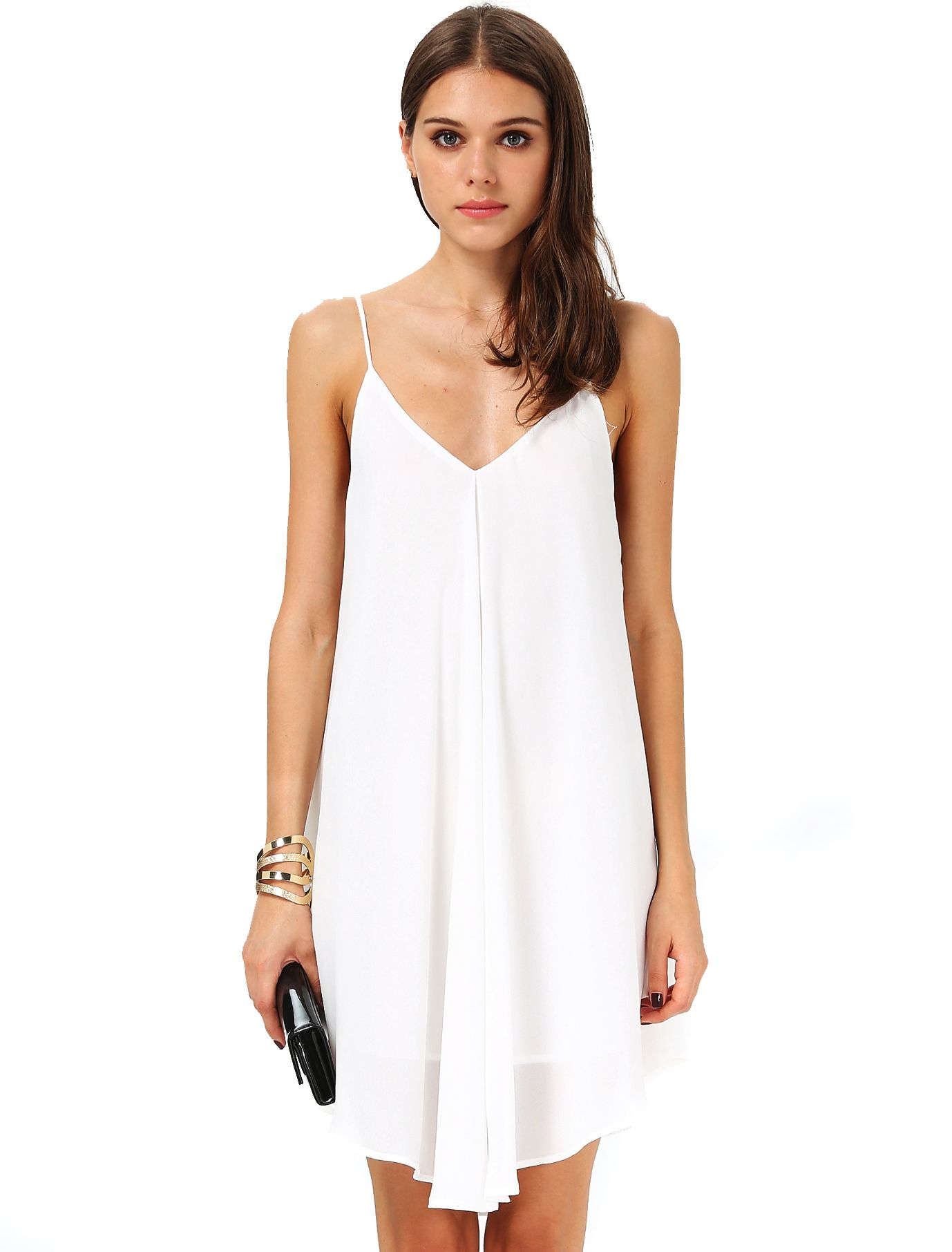 6f40dbd2b1 White Spaghetti Strap Backless Loose Dress