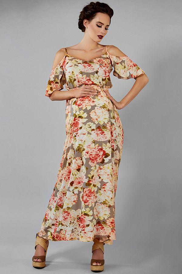 c339ce86779c Dlouhé těhotenské šaty s padavými rameny v béžové barvě