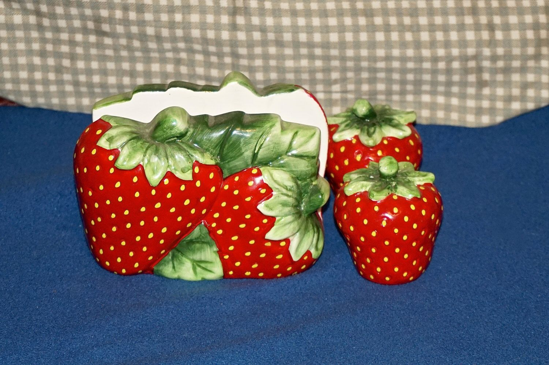 Vtg Large Ceramic Strawberry Theme Salt & Pepper Shaker Matching Napkin Holder by GoRoundAgain on Etsy https://www.etsy.com/listing/230997468/vtg-large-ceramic-strawberry-theme-salt
