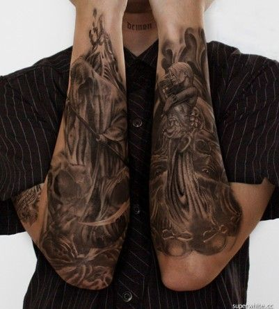 Good and evil tattoos tattoos ideas for my for How to blend tattoos into a sleeve