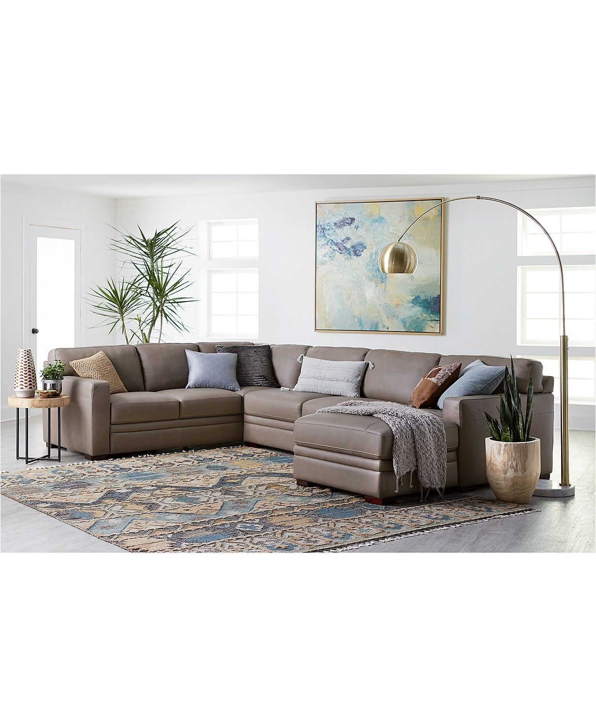 Furniture Avenell Leather Sectional And Sofa Collection Created For Macy S Reviews Furniture Macy S In 2021 Leather Couches Living Room Leather Sectional Living Room Sectional Living Room Decor