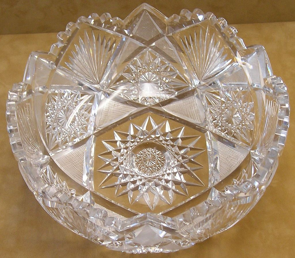 American Brilliant Period Cut Glass Bowl In Hobstar ...