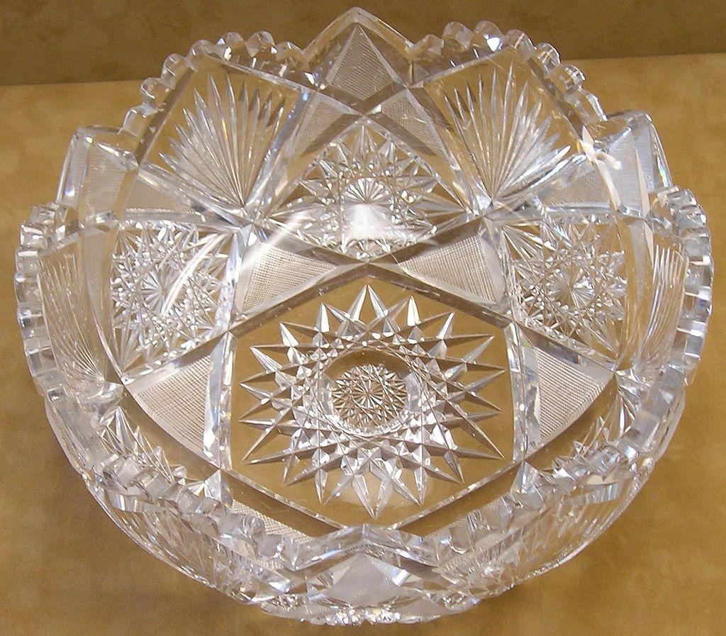 American Brilliant Period Cut Glass Bowl In Hobstar ...