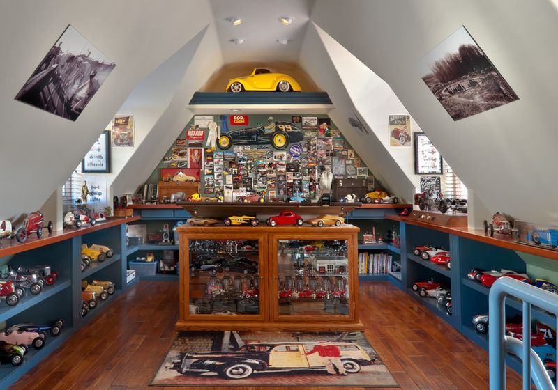 This homeowner converted the attic space into a model car museum and model car garage media - Small space man cave model ...