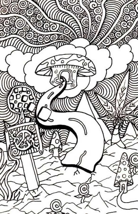 trippy coloring pages mushroom clouds - Trippy Coloring Books