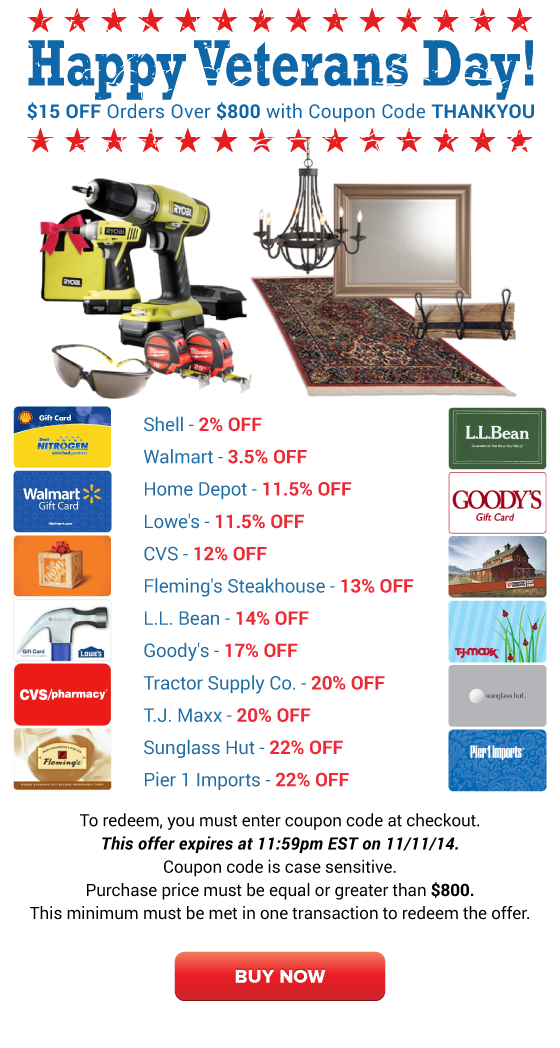 Happy Veterans Day: Shell 2% OFF, Home Depot 11.5% OFF ... Happy Gift Card Home Depot