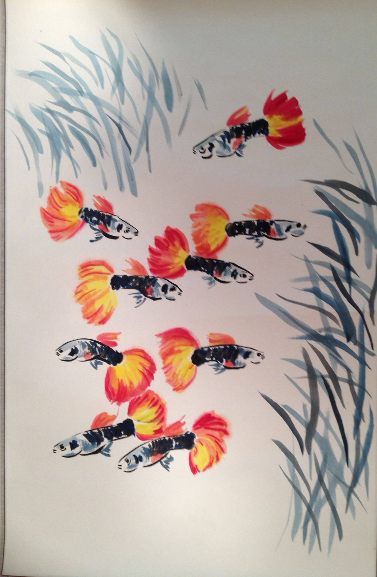 Red Tuxedo Guppies Chinese Brush Painting Aqua Art Fish Painting Art