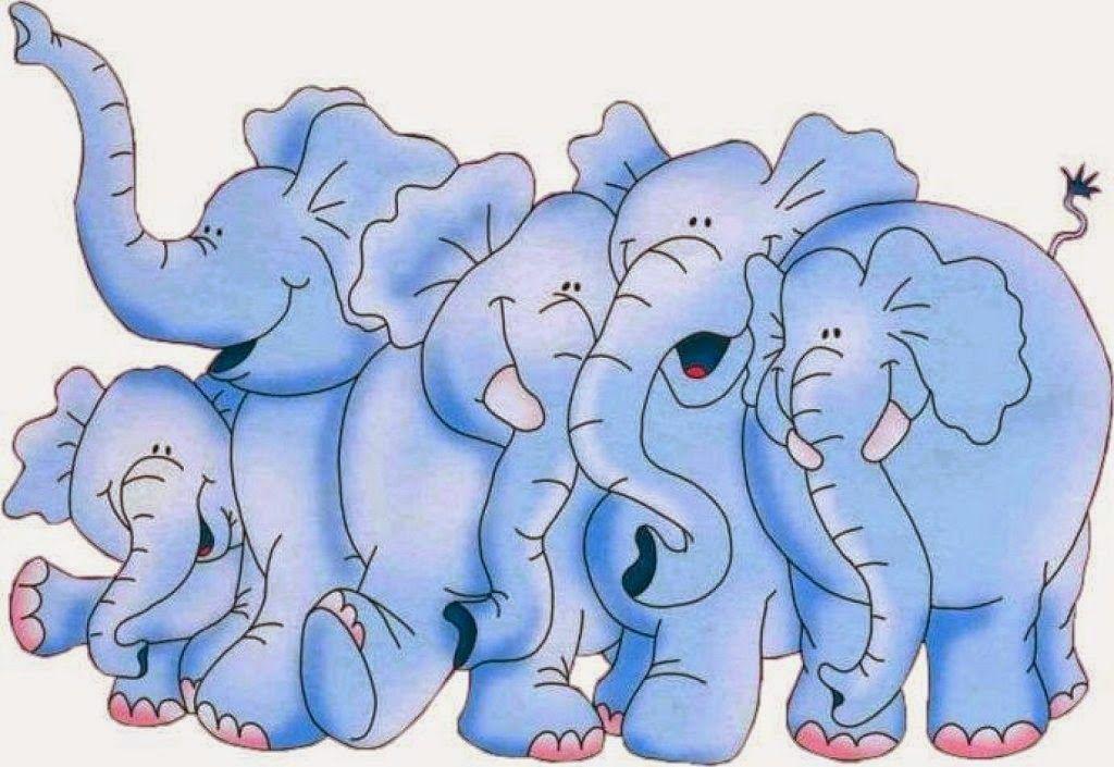 group of blue elephants