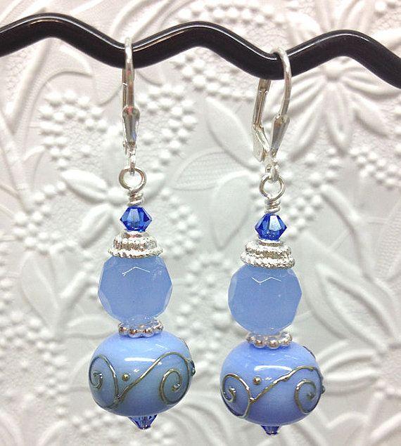 WIld Blue Yonder Lampwork beaded earrings in by thepinkmartini, $35.00