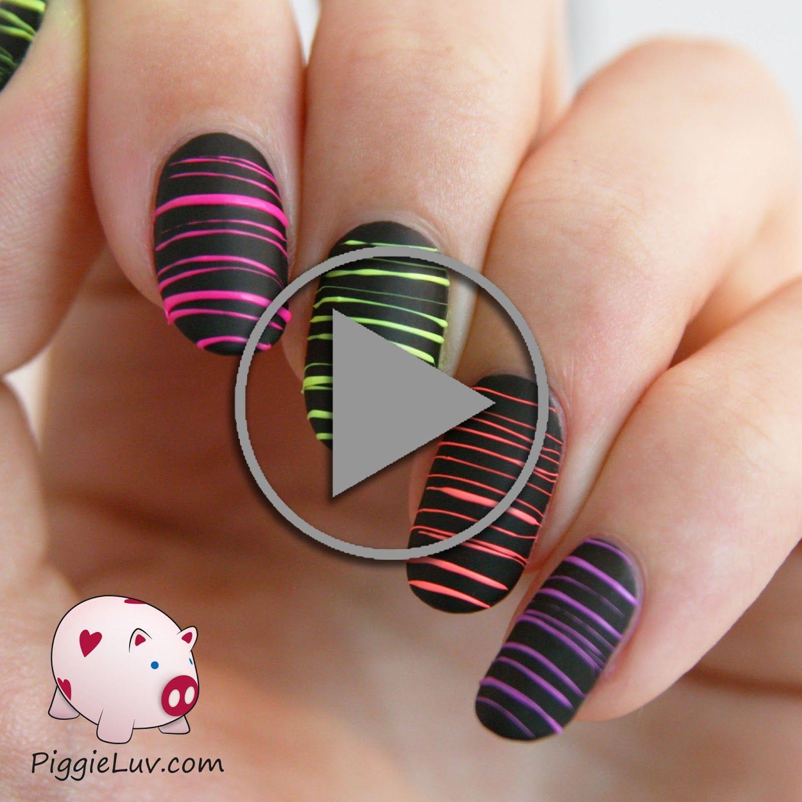 Video tutorial: neon sugar spun nail art | Neon | Pinterest | Spin ...