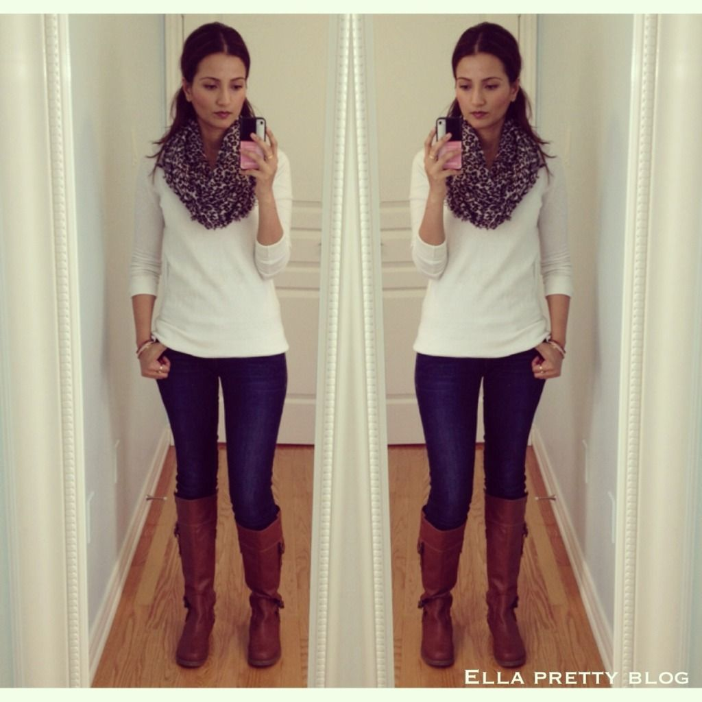 white sweater w/ jeans, tan boots and leopard print scarf | F/W ...