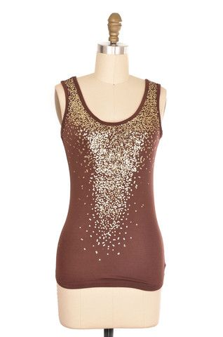 Brown And Gold Sequins Tank Size S | ClosetDash #fashion #style #tops #blouse