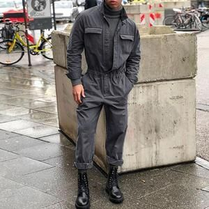95072dbb Fashion Mens Lapel Collar Plain Jumpsuit in 2019 | Mens fashion ...