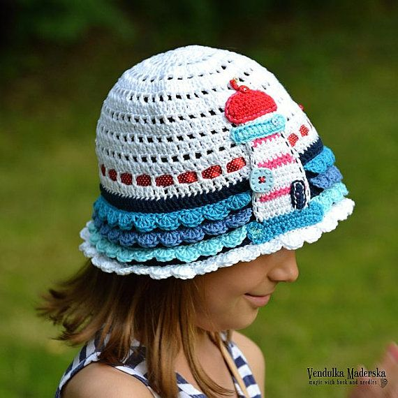 Crochet pattern - crochet hat with lighthouse appliqué by Vendulkam ...