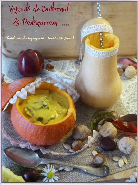 Velouté de Potimarron - Butternut & marron-champignons et Lardon