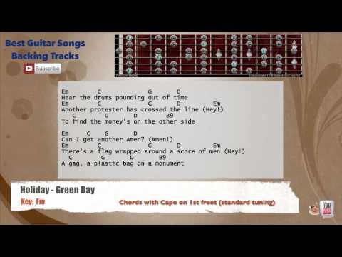 Holiday - Green Day Guitar Backing Track with scale, chords and ...