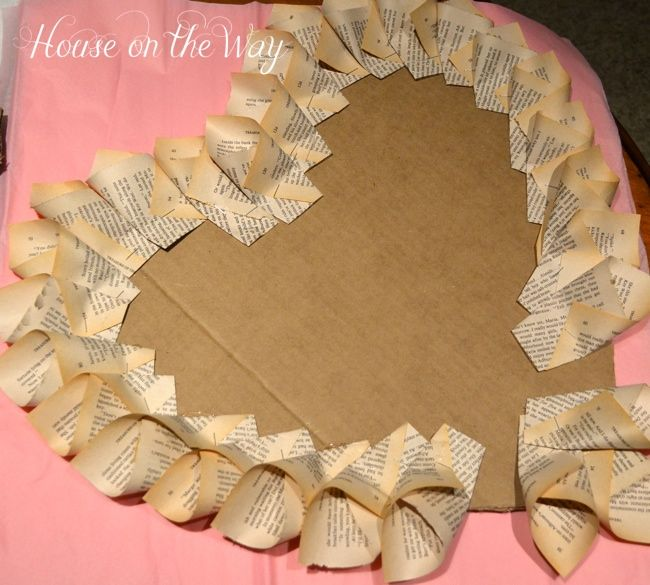Valentine's Day Heart Wreath From Pages Of A Book