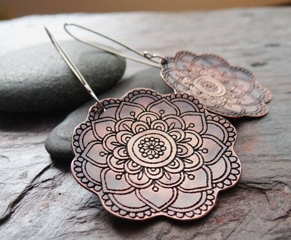 Blooming Copper Earrings // etched flower design on sterling silver ear hooks // artisan metalsmith earrings (3627)