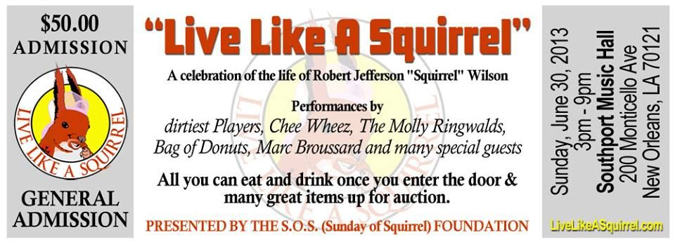 """""""Live Like A Squirrel"""" Benefit at Southport Hall with the Dirtiest Players, The Chee Weez, Bag of Donuts and Marc Broussard!"""