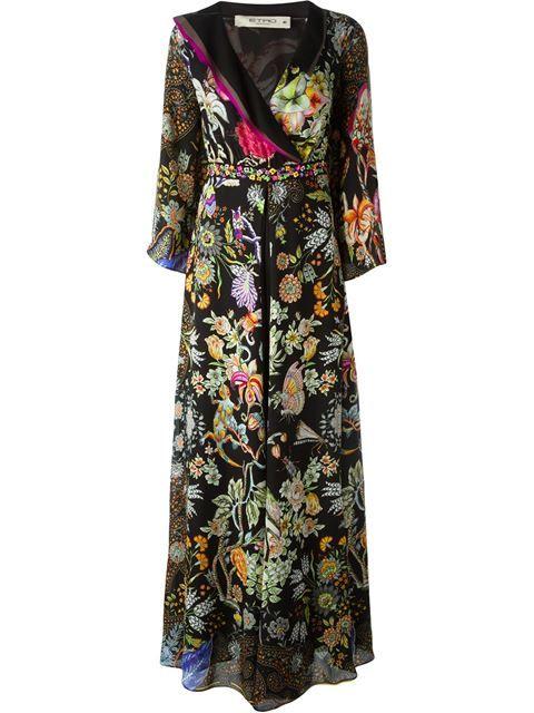 floral print maxi dress - Black Etro uhlWuaX