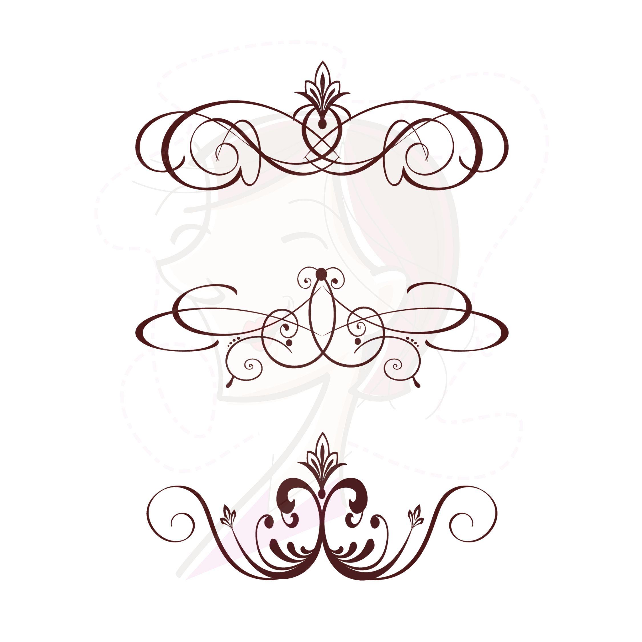 Flourish Vector Vintage Clip Art Dark Brown Floral Swirls Rh Ph