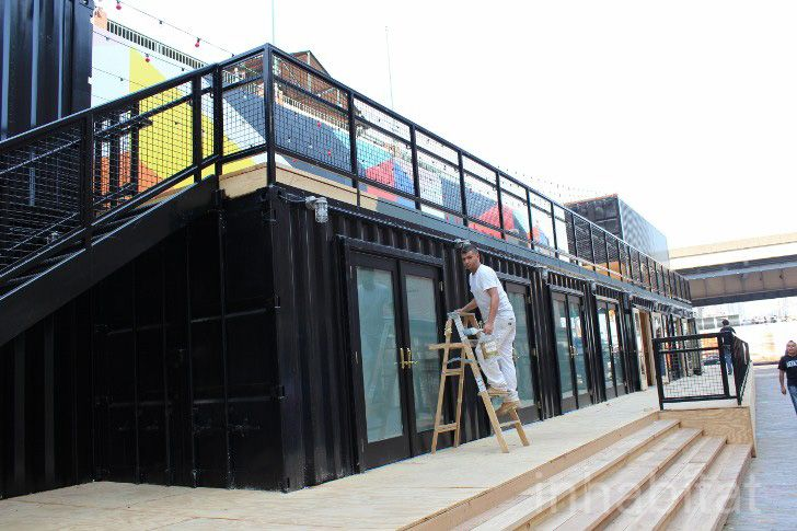 Shipping Container Beer Garden And Smorgasbar Now Open For Business At South Street Seaport Shipping Container House Plans Shipping Container Architecture Shipping Container