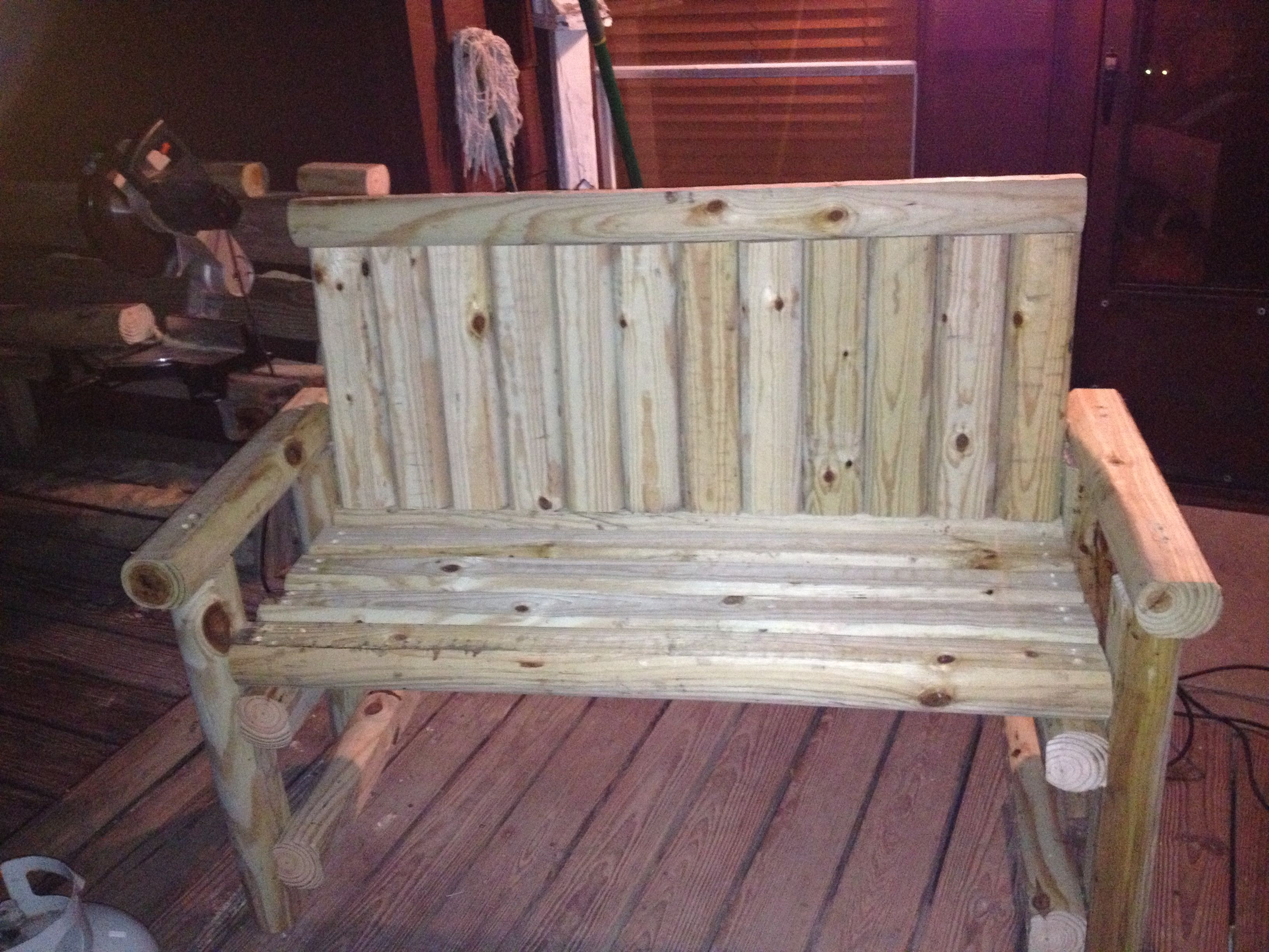 Affordable DIY Bench Made from landscape timbers.  Very solid!!
