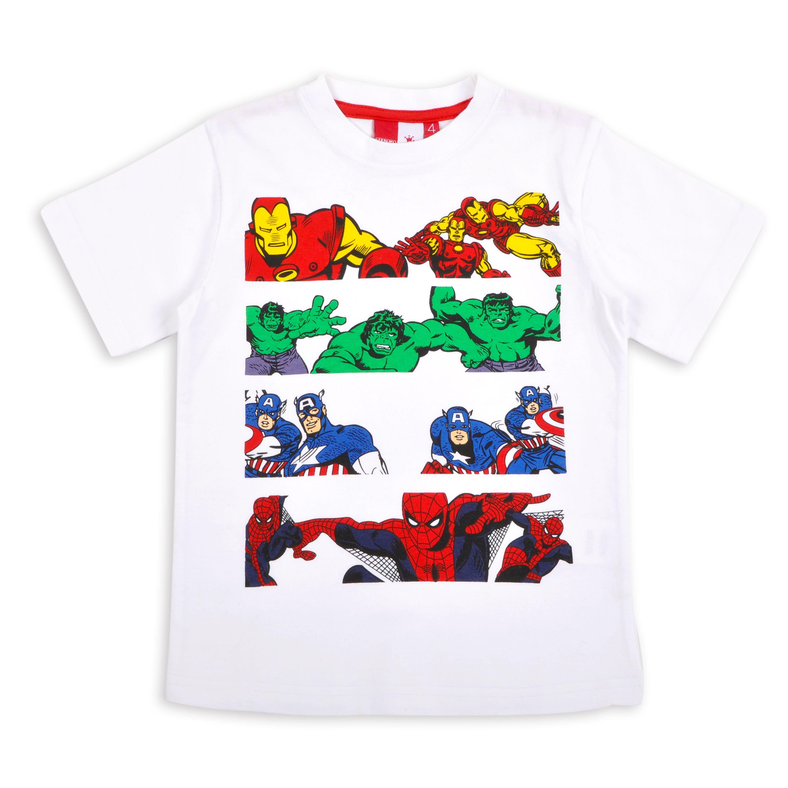 Franela EPK para niño blanca con estampado de superheroes Ro