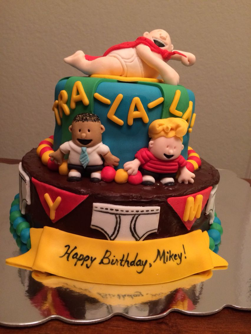 Fondant Captain Underpants cake with George and Harold figures ...