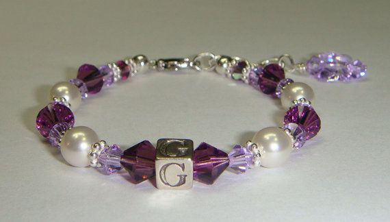Girl's Pretty In Purple Initial Bracelet  by CrystalConnections4U. , via Etsy.