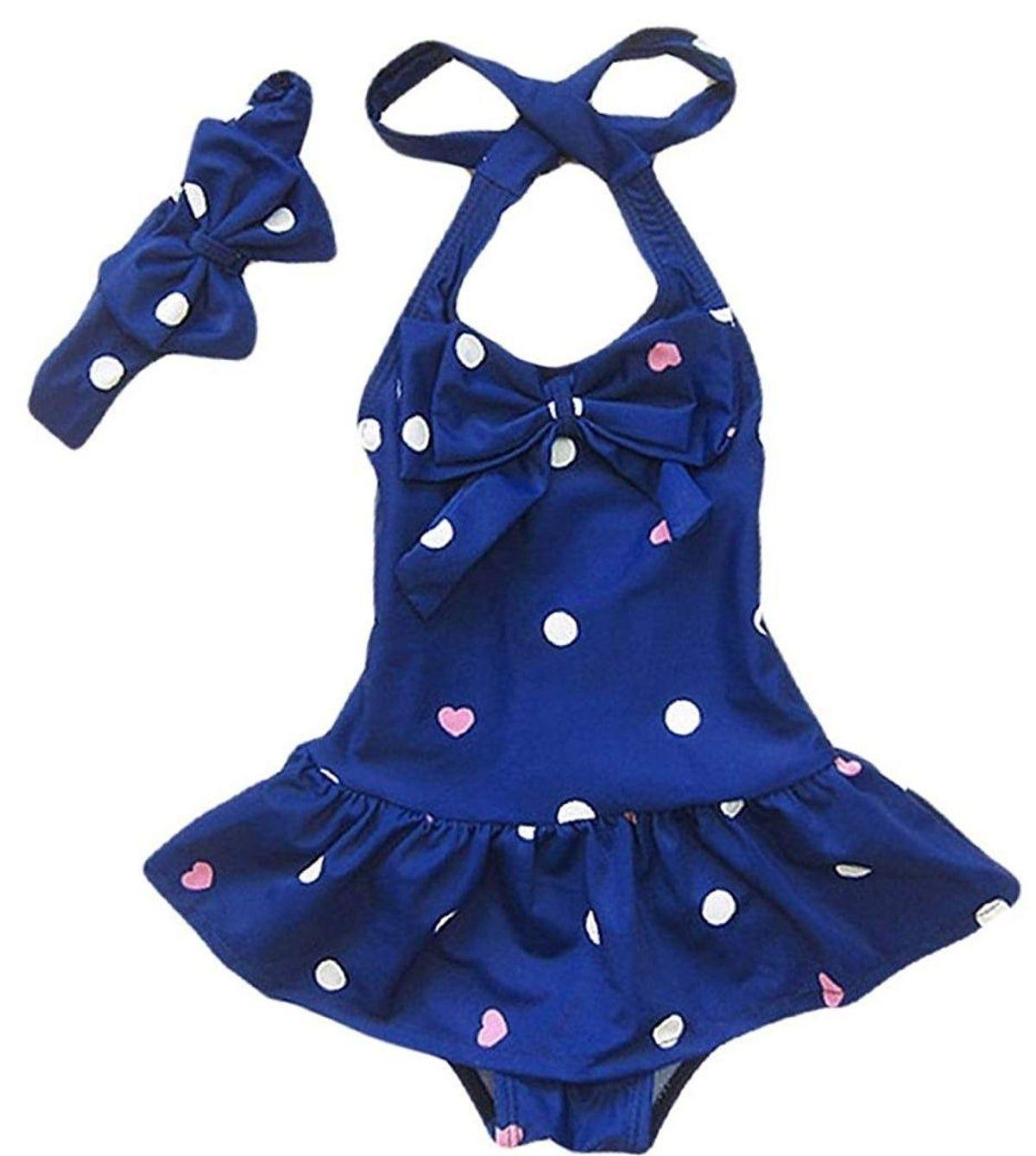 Baby Girl Bikini,Kids Toddler Polka Dot Swimsuits Halter Swimwear Bikinis Set with Headband