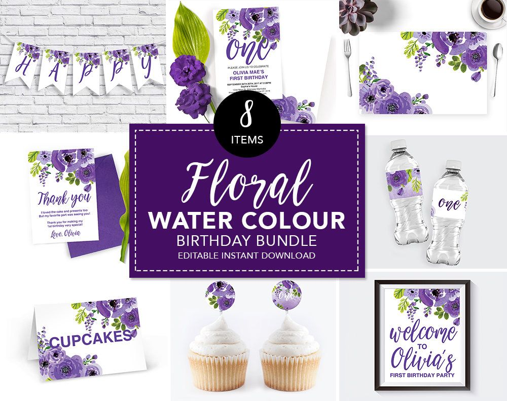 Purple floral birthday party purple flowers floral birthday bundle purple floral birthday party purple flowers floral birthday bundle purple birthday party izmirmasajfo