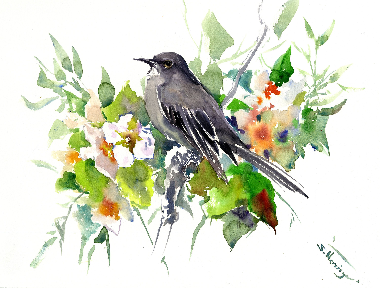Mockingbird Artwork Bird Wall Art Painting Original Watercolor