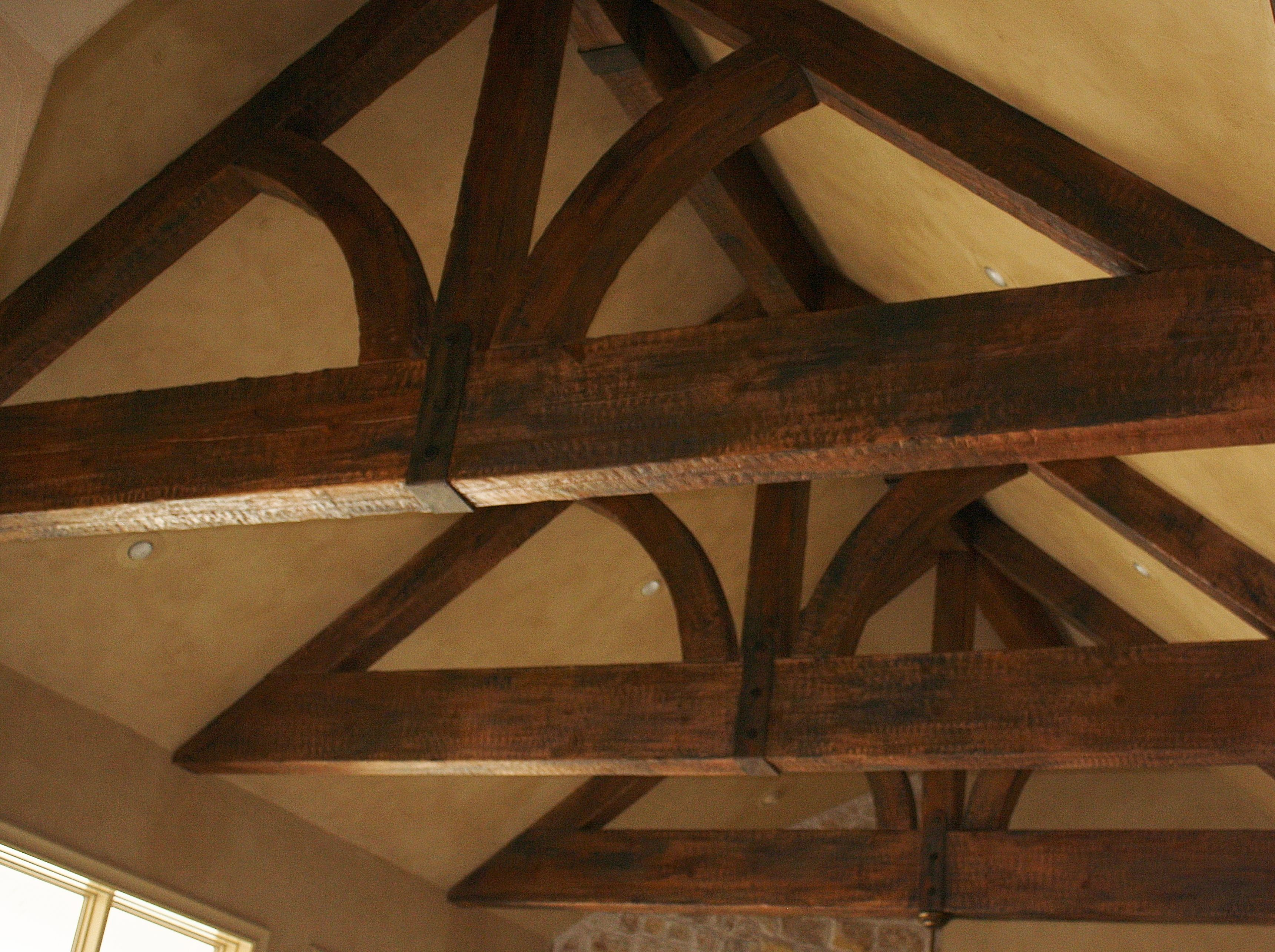 Beams Originally Cedar Added 3 Color Stain And Rusted