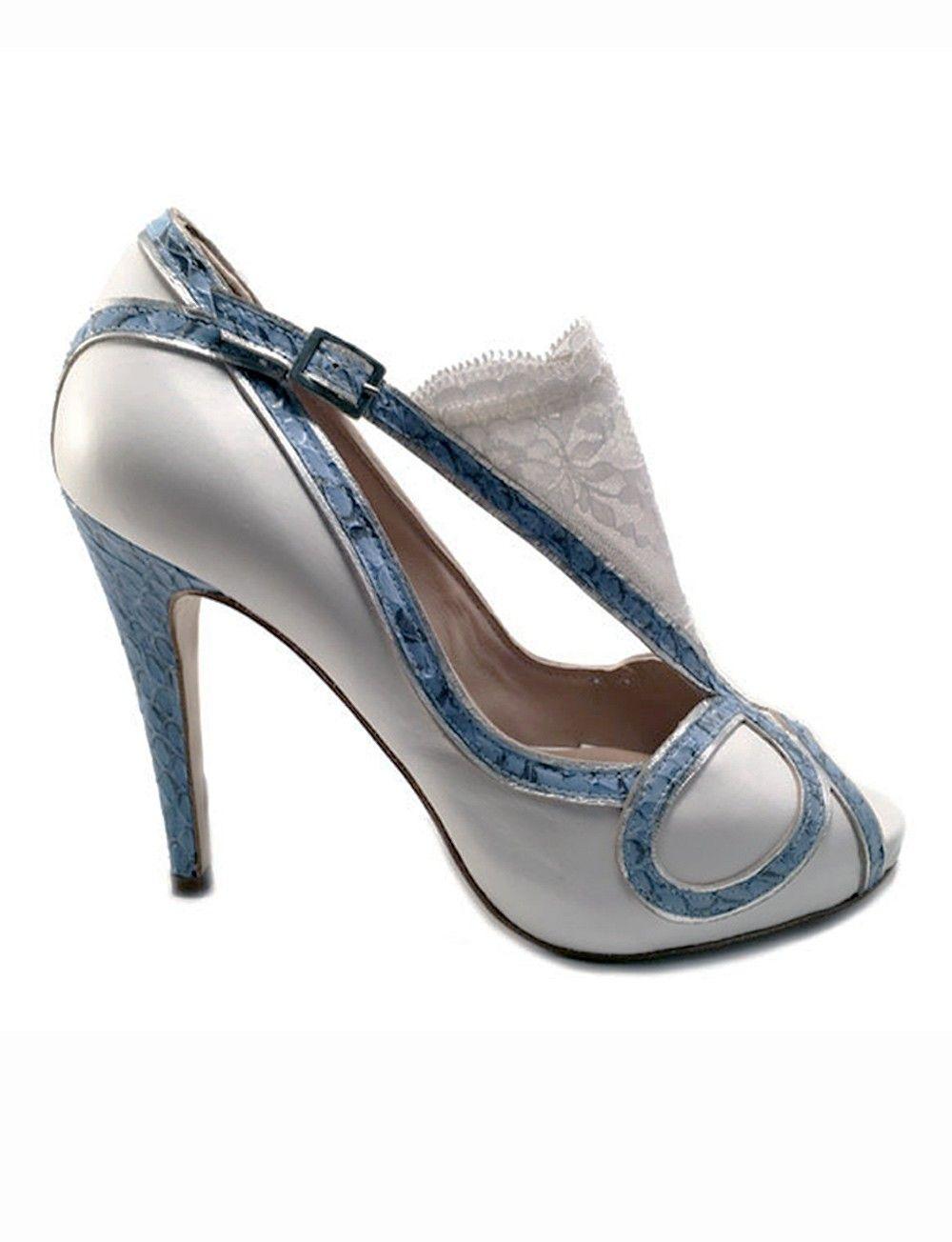y tacón de toe zapato azul blanco peep qBnxt6wpRX