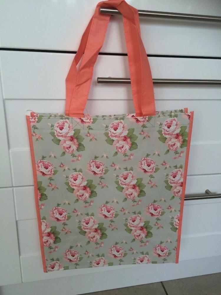 PRETTY SHABBY CINTAGE STYLE CHIC MILLIE BY JENNIFER ROSE FLORAL SHOPPING BAG