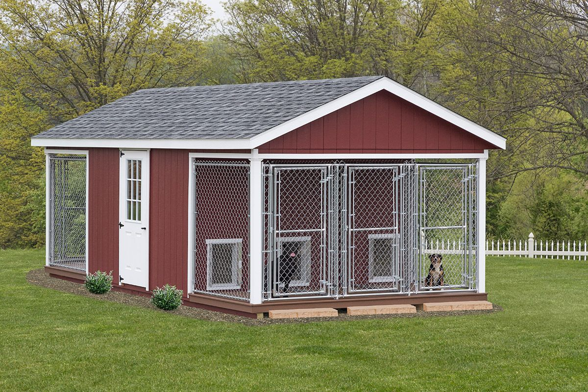 Outdoor dog kennels stoltzfus structures dog houses for Dog run outdoor kennel house