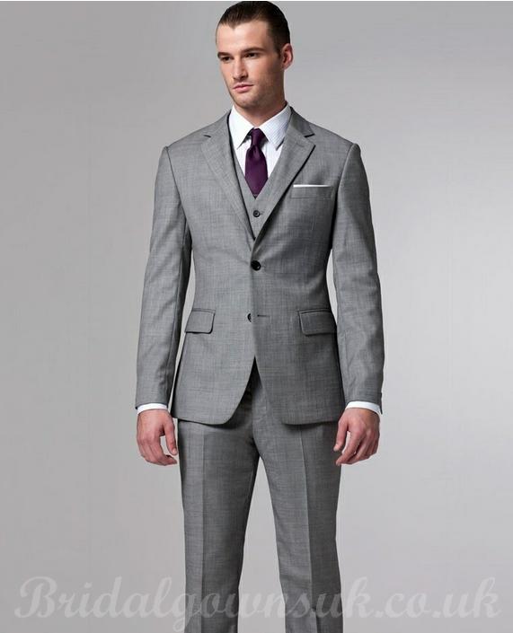 grey 3 piece suit with purple tie love this wedding