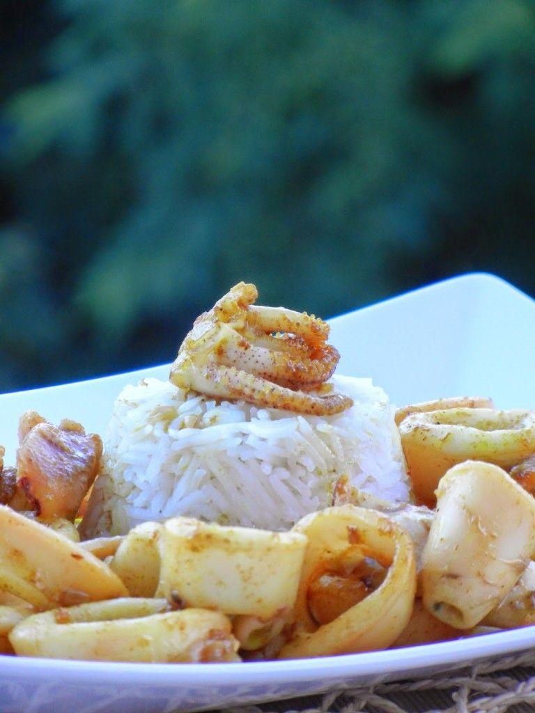 Curry di calamari e riso basmati | Il gatto pasticcione