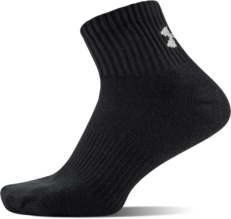 1d30dda99fac Under Armour Mens Charged Cotton 2.0 Quarter Socks Black/Gray Large ...